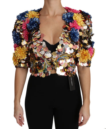 Crystal Sequined Floral Jacket Coat