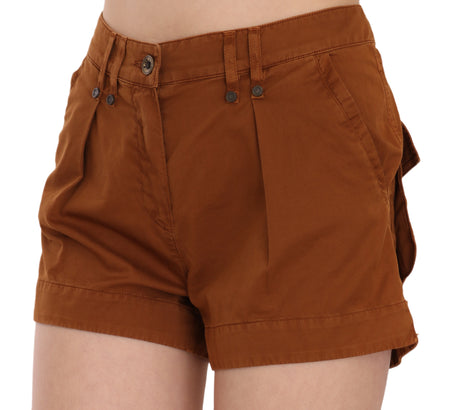 Brown Mid Waist Cotton Denim Mini Shorts