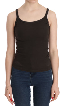 Dark Brown Sleeveless Spaghetti Strap Blouse