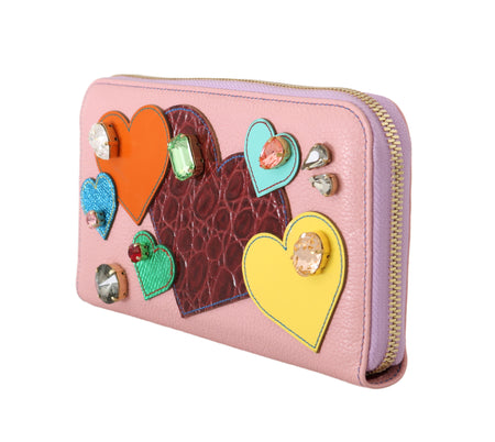 Pink Leather Heart Crystal Continental Clutch Wallet