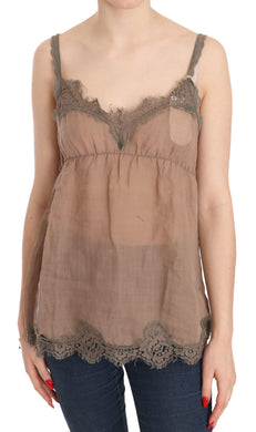 Brown Lace Spaghetti Strap Plunging Top Blouse