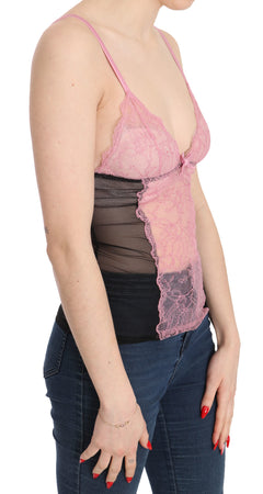 Pink Black Lace Strap Underwear Blouse Top