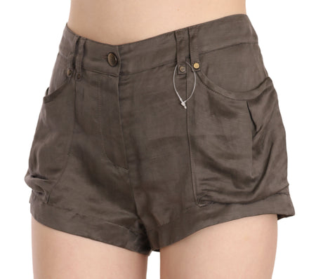 Brown Mid Waist Linen Micro Mini Shorts
