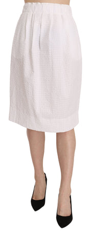 White Jacquard Plain Weave Stretch Midi Skirt