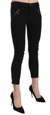 Black Low Waist Skinny Cropped Trousers Pants