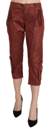 Bordeaux Gold Cotton Capri Trousers Pants
