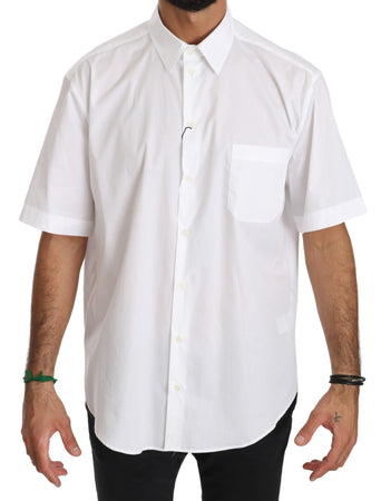 White Short Sleeve Cotton Men Top Shirt