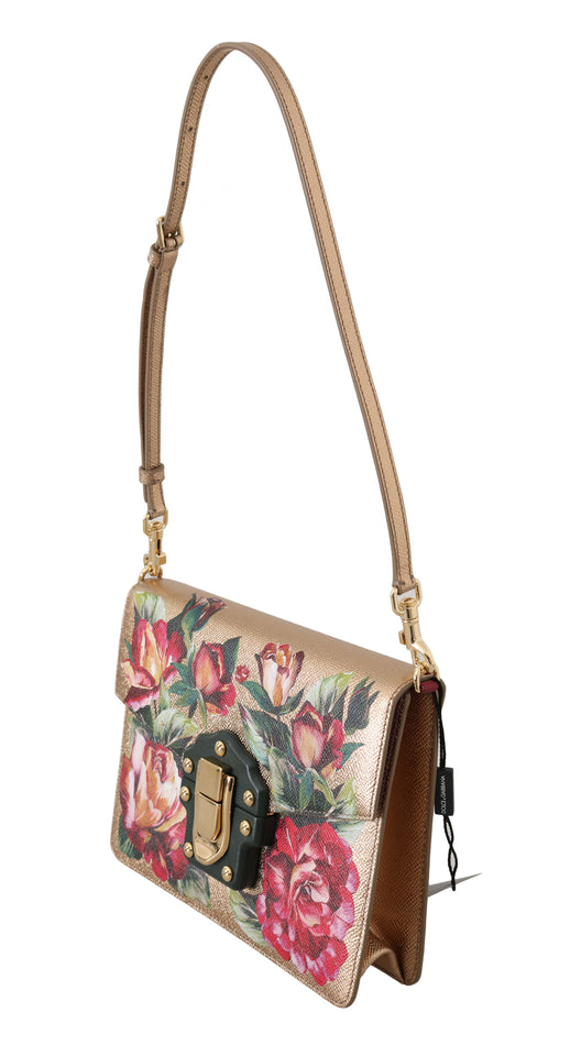 Gold Leather Red Roses Floral LUCIA Shoulder Bag