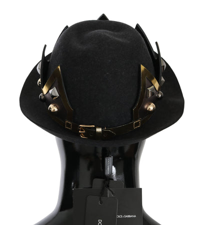 Black Crown Embellished Trilby Men Capello Hat