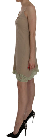 Beige Lace Spaghetti Strap Mini Cotton Dress