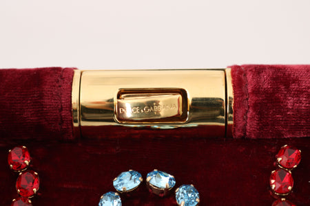 Red Velvet Gold Ricamo Crystal Party Clutch  Purse