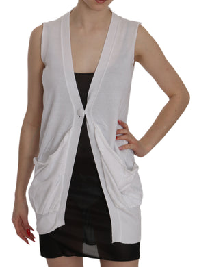 White 100% Cotton Sleeveless Cardigan Top Vest