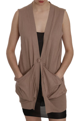 Brown 100% Cotton Sleeveless Cardigan Top Vest