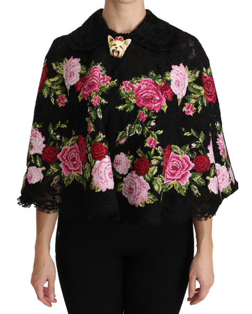Black Floral Dog Cape Coat Cotton Jacket