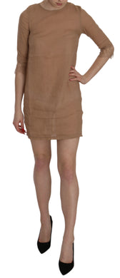 Brown 3/4 Sleeve Crewneck Shift Mini Dress