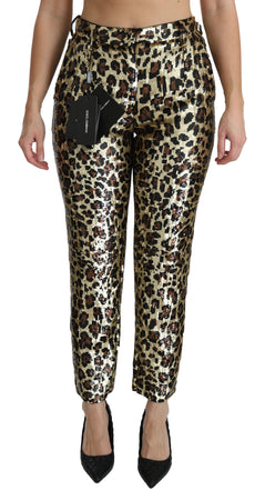 Brown Leopard Sequined High Waist Pants