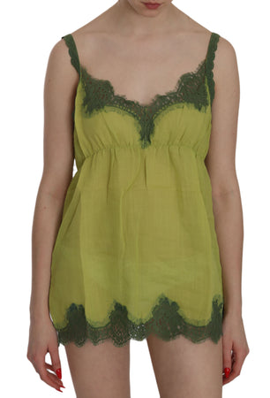 Green Lace Spaghetti Strap Tank Top Blouse
