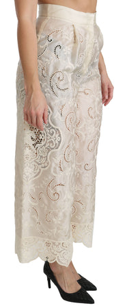 Cream Lace High Waist Palazzo Cropped Pants