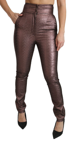Purple Metallic High Waist Skinny Cotton Pants