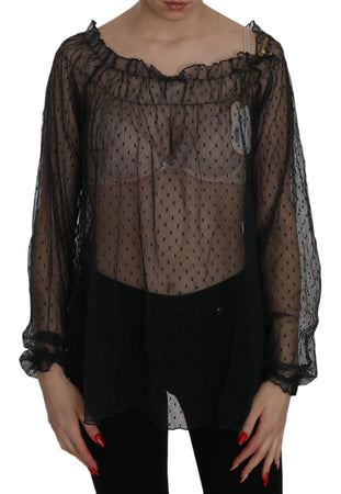Black Mesh See Through Long Sleeve Top Blouse