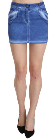 Blue Cotton Stretch Casual Mini Skirt