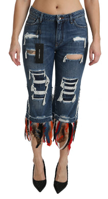 Blue Feathers Low Waist Cropped Cotton Jeans