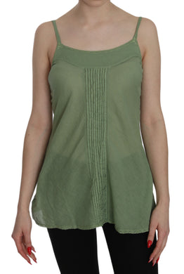 Green Silk Spaghetti Strap Tank Top Blouse