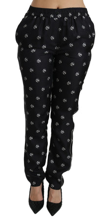 Black Printed Mid Waist Skinny Silk Pants