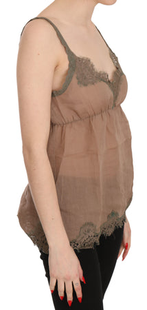 Brown Lace Spaghetti Strap Tank Top  Blouse
