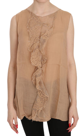 Brown Lace Sleeveless Casual Tank Top Blouse