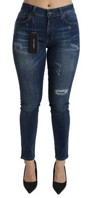 Cotton Stretch Blue Washed Skinny Denim Jeans