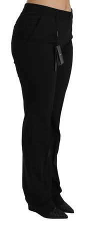 Black Mid Waist Skinny Formal Wool Stretch Pants