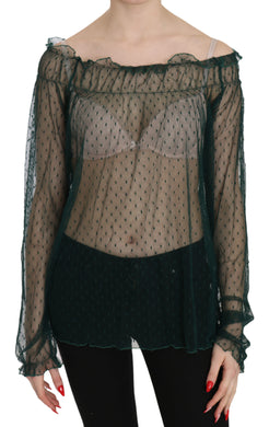 Green Mesh See Through Long Sleeve Top Blouse