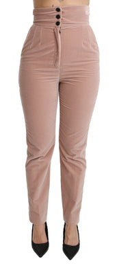 Pink Slim Fit High Waist 100% Cotton Pants