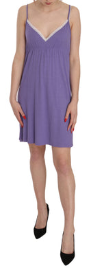Purple Spaghetti Strap Plunging Shift Mini Dress