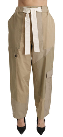 Beige High Waist Straight 100% Cotton Pants