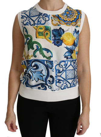 White Majolica Sleeveless Blouse Silk Top