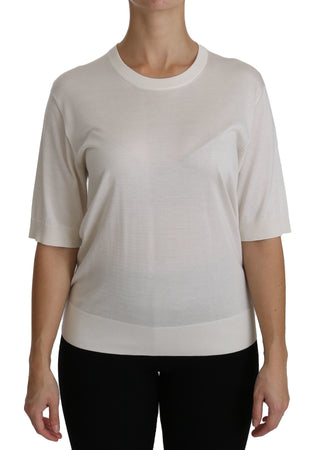 Silk White Crew Neck Short Sleeve Top Blouse