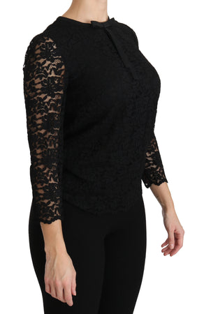 Black Lace Long Sleeve Nylon Blouse