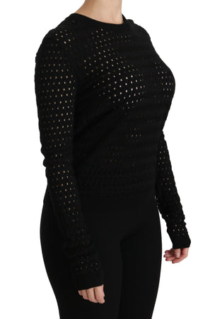 Black Crewneck Long Sleeve Top Blouse