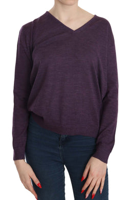 Purple V-neck Long Sleeve Pullover Top