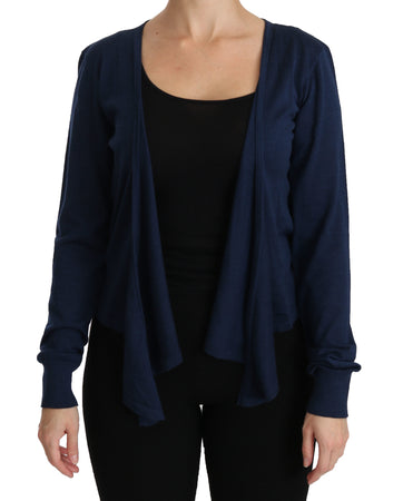 Blue Long Sleeve Cardigan Cashmere  Sweater