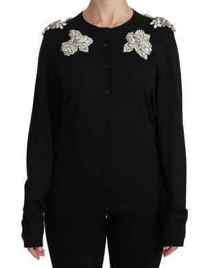 Black Crystal Embellished Cardigan Sweater