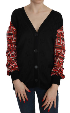 Black Plunging Long Sleeve Cardigan Sweater