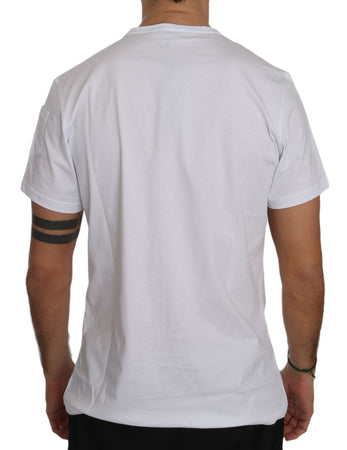 White Cotton Crew-neck Chest Mens T-shirt