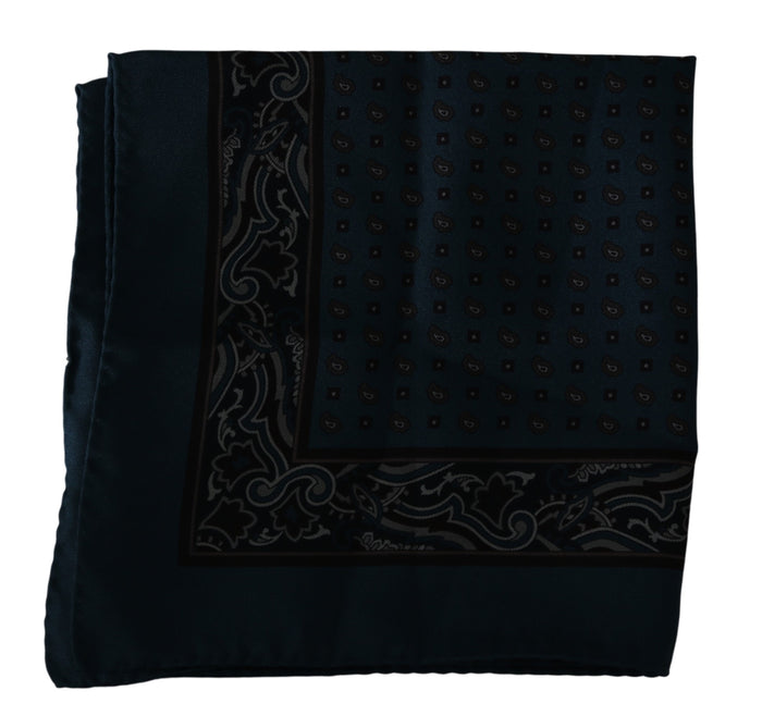 Navy Blue Printed Handkerchief Silk Scarf