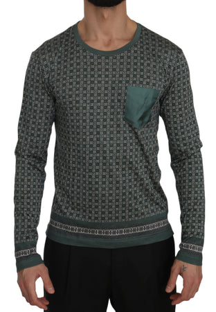 Green Patterned Round Neck Pullover Sweater