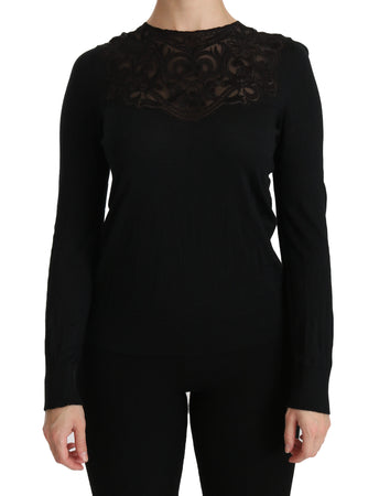 Black Silk Lace Crew Neck Long Sleeve Blouse