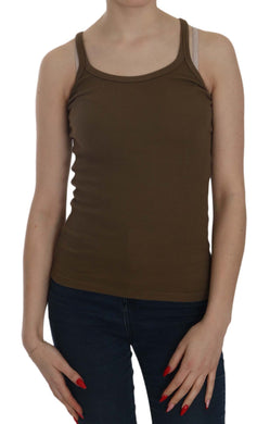 Brown Sleeveless Spaghetti Strap Blouse Top
