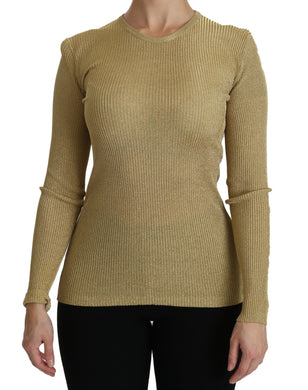 Gold Crew Neck Long Sleeve Top Viscose Blouse